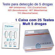 Caixa com 25 Testes Mult 5 - AMP+COC+THC+MET+BZD