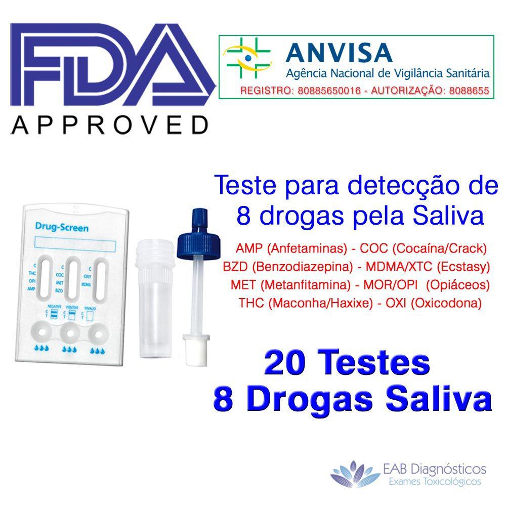 20 Testes de Saliva para 8 Drogas