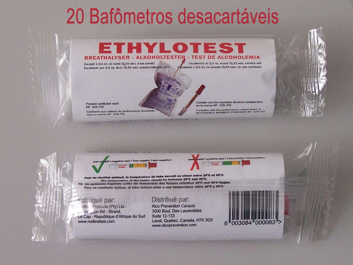 Bafômetro descartável (kit 20 uniddes)