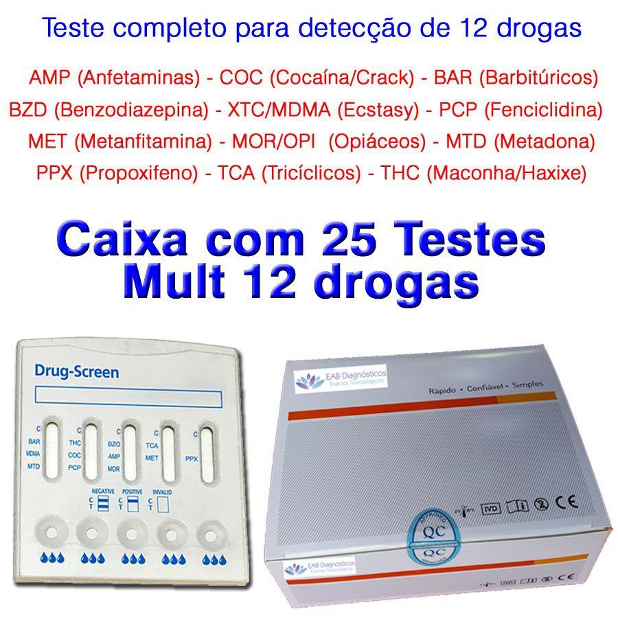 01 Caixa com 25 Testes Mult 12 Substâncias