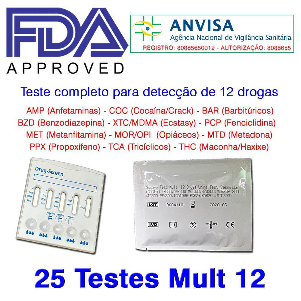 01 Caixa com 25 Testes Mult 12 Substâncias  -  EAB Diagnósticos - Exames Toxicológicos