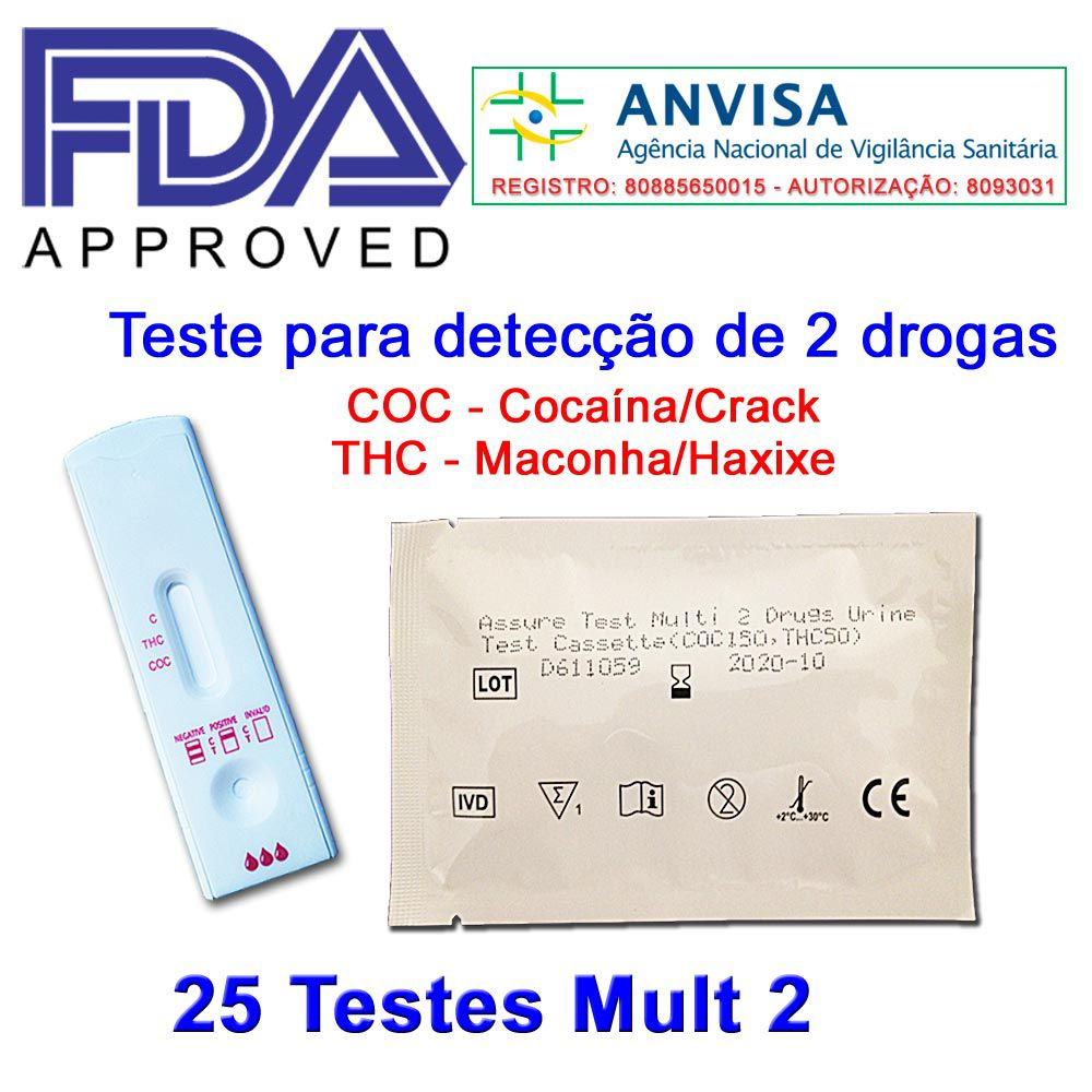 01 Caixa com 25 Testes Mult 2 - COC+THC  -  EAB Diagnósticos - Exames Toxicológicos