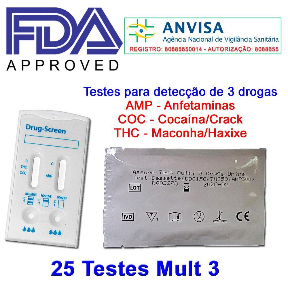 01 Caixa com 25 Testes Mult 3 Substâncias  -  EAB Diagnósticos - Exames Toxicológicos