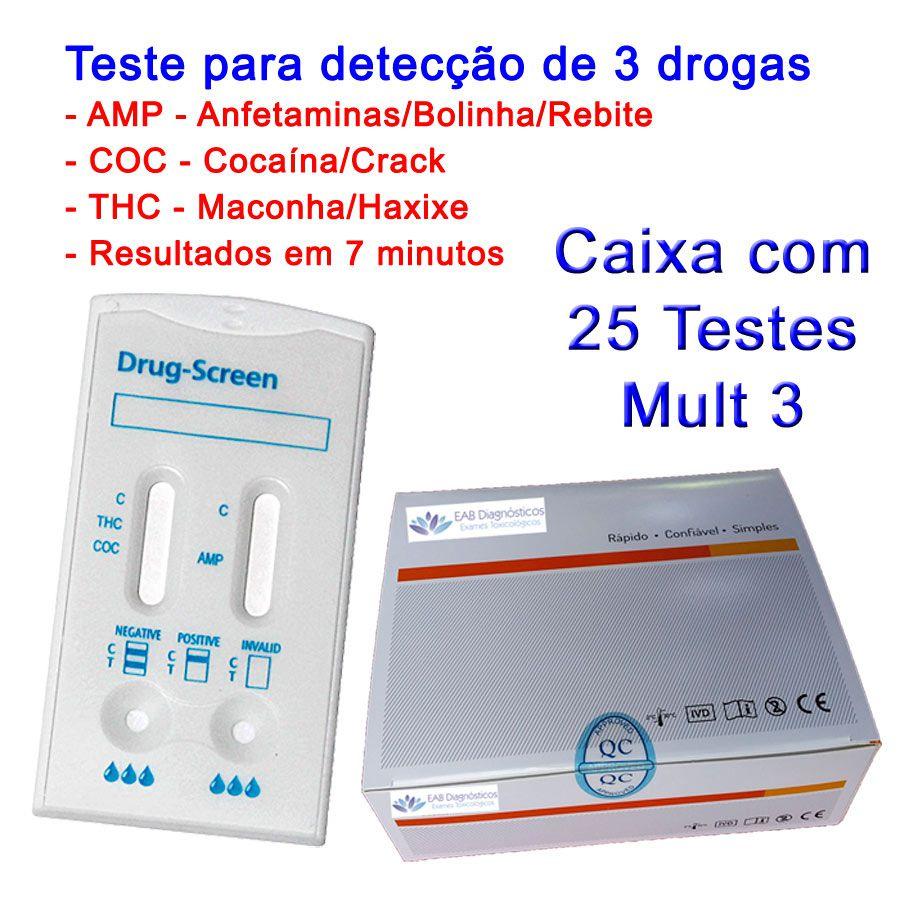 01 Caixa com 25 Testes Mult 3 Substâncias