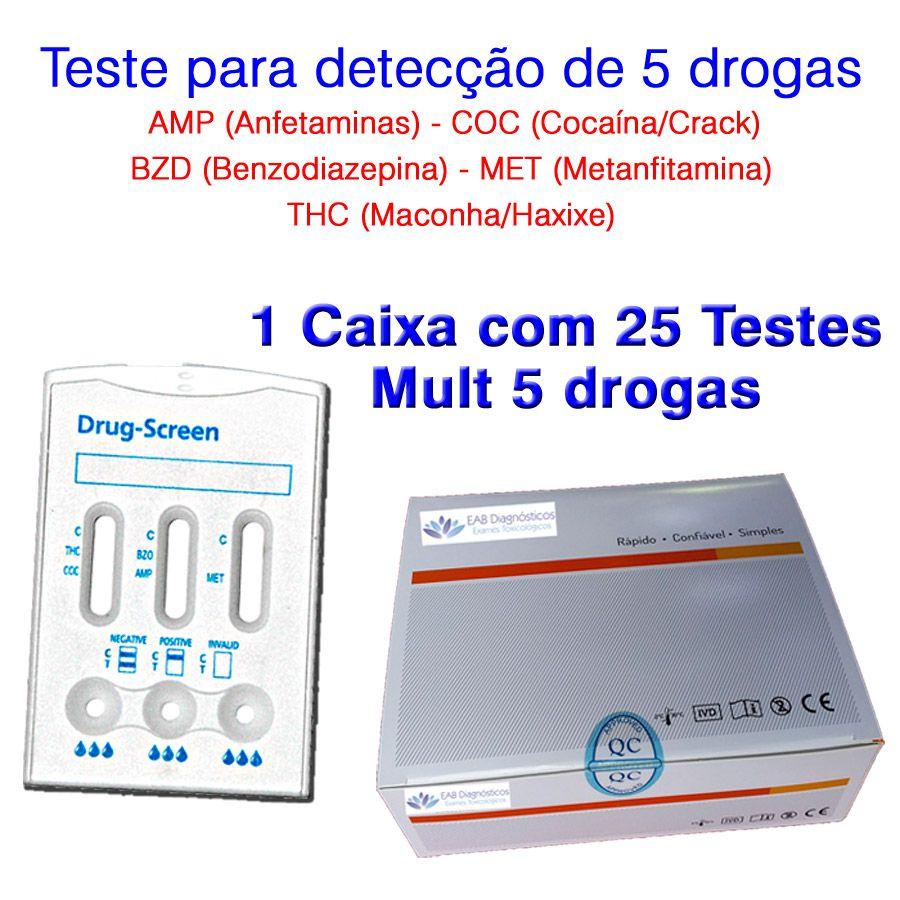 01 Caixa com 25 Testes Mult 5 Substâncias