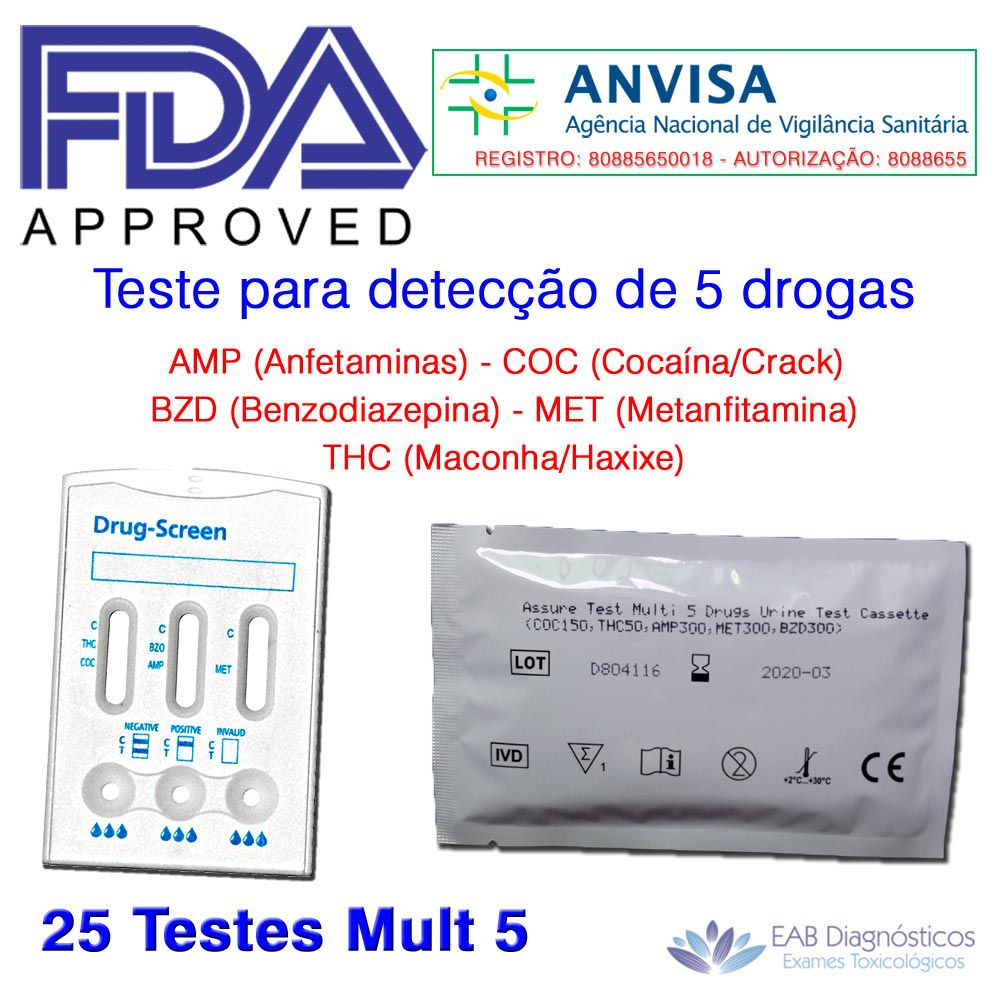 Caixa com 25 Testes Mult 5 - AMP+COC+THC+MET+BZD  -  EAB Diagnósticos - Exames Toxicológicos