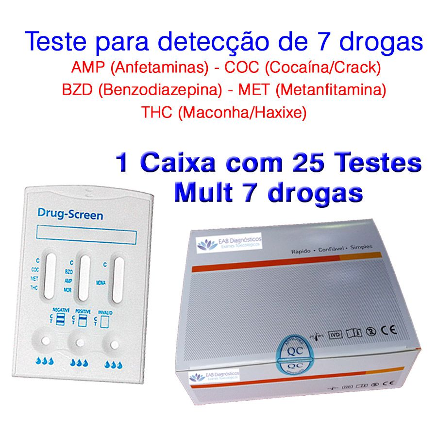 01 Caixa com 25 Testes Mult 7 Substâncias