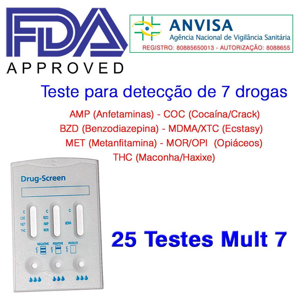 01 Caixa com 25 Testes Mult 7 Substâncias  -  EAB Diagnósticos - Exames Toxicológicos
