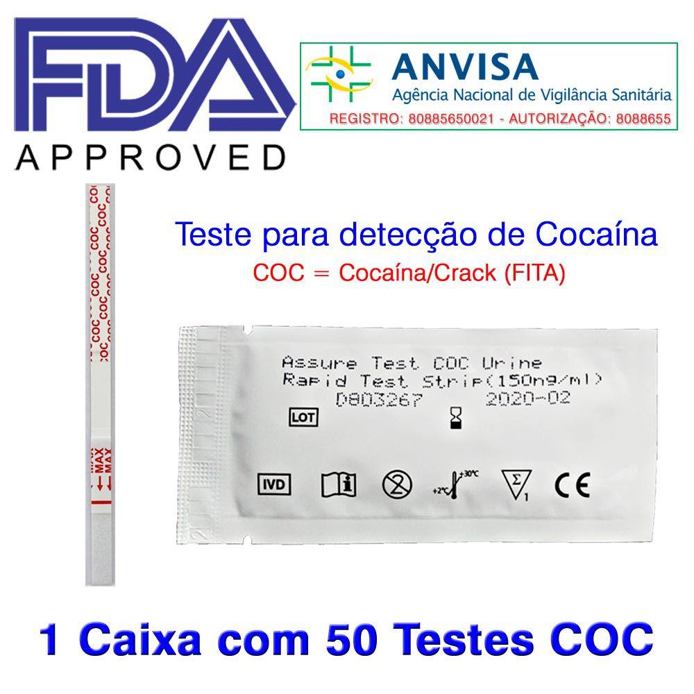 01 Caixa com 50 Testes COC  -  EAB Diagnósticos - Exames Toxicológicos