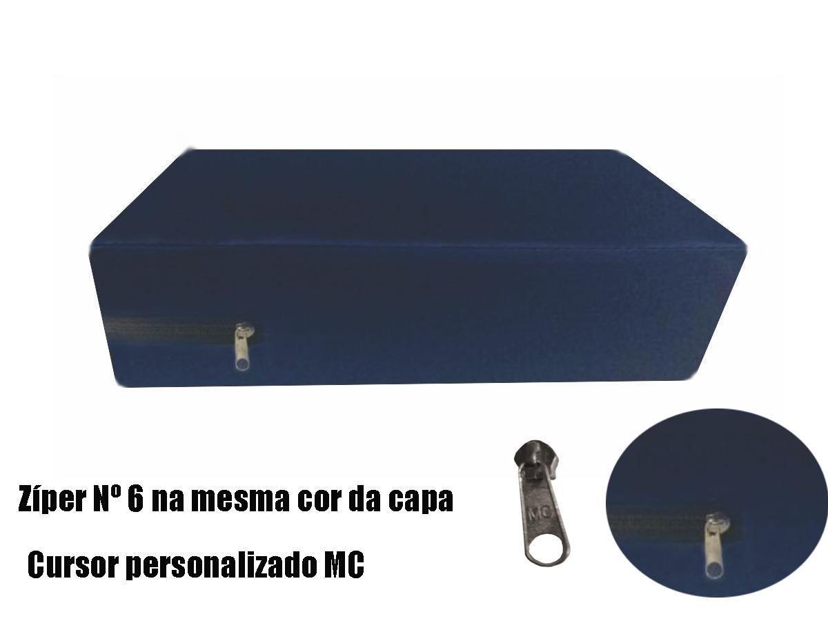 Capa hospitalar impermeável para colchão de casal na cor azul marinho  - CarroCasa