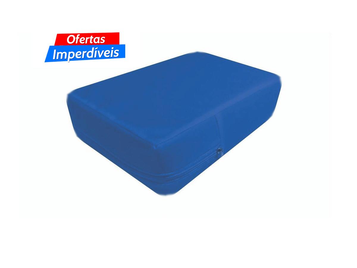 Capa hospitalar para colchão de solteiro impermeável cor azul com zíper