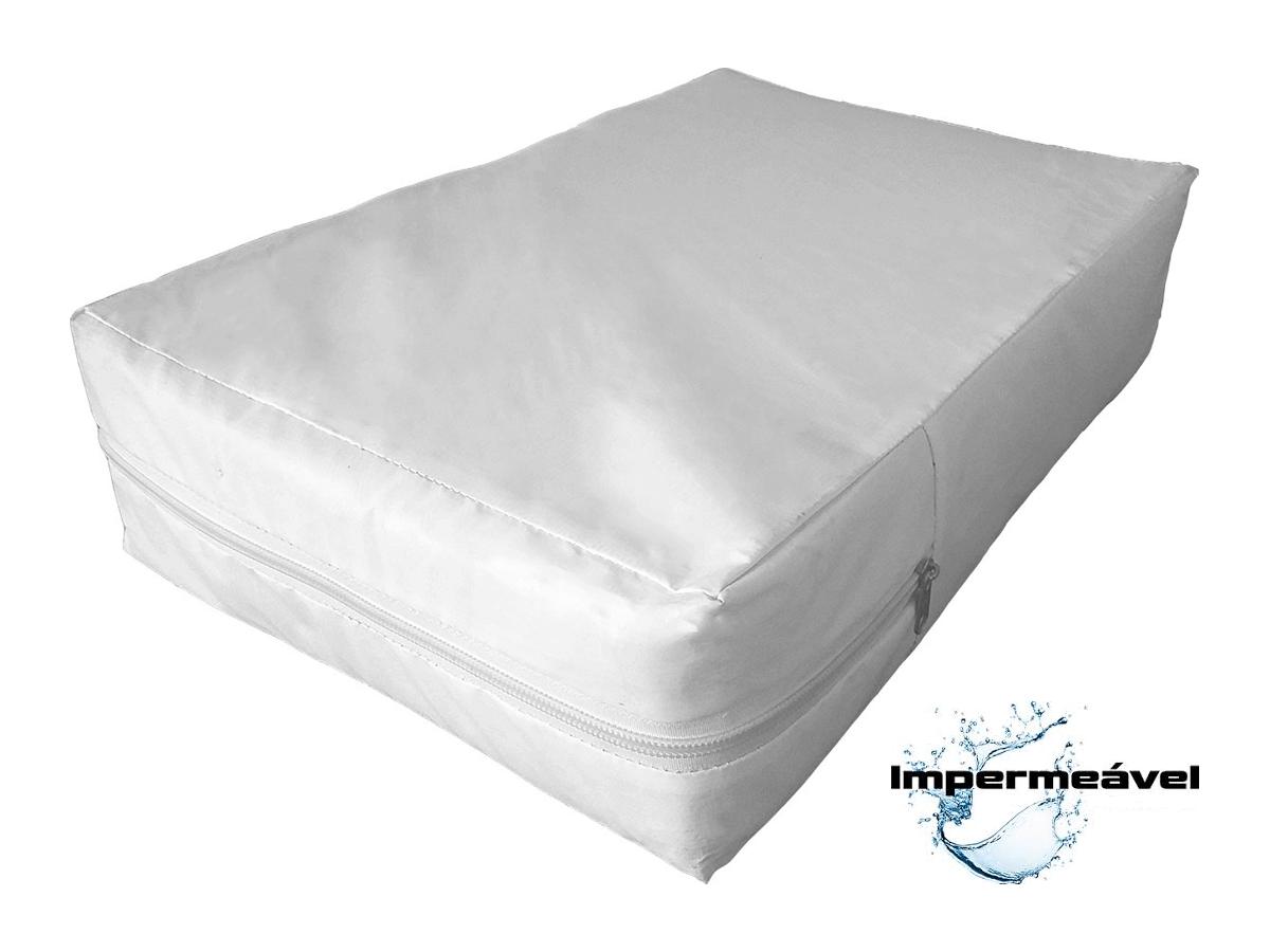 capa impermeável hospitalar para colchão de casal na cor branca  - CarroCasa