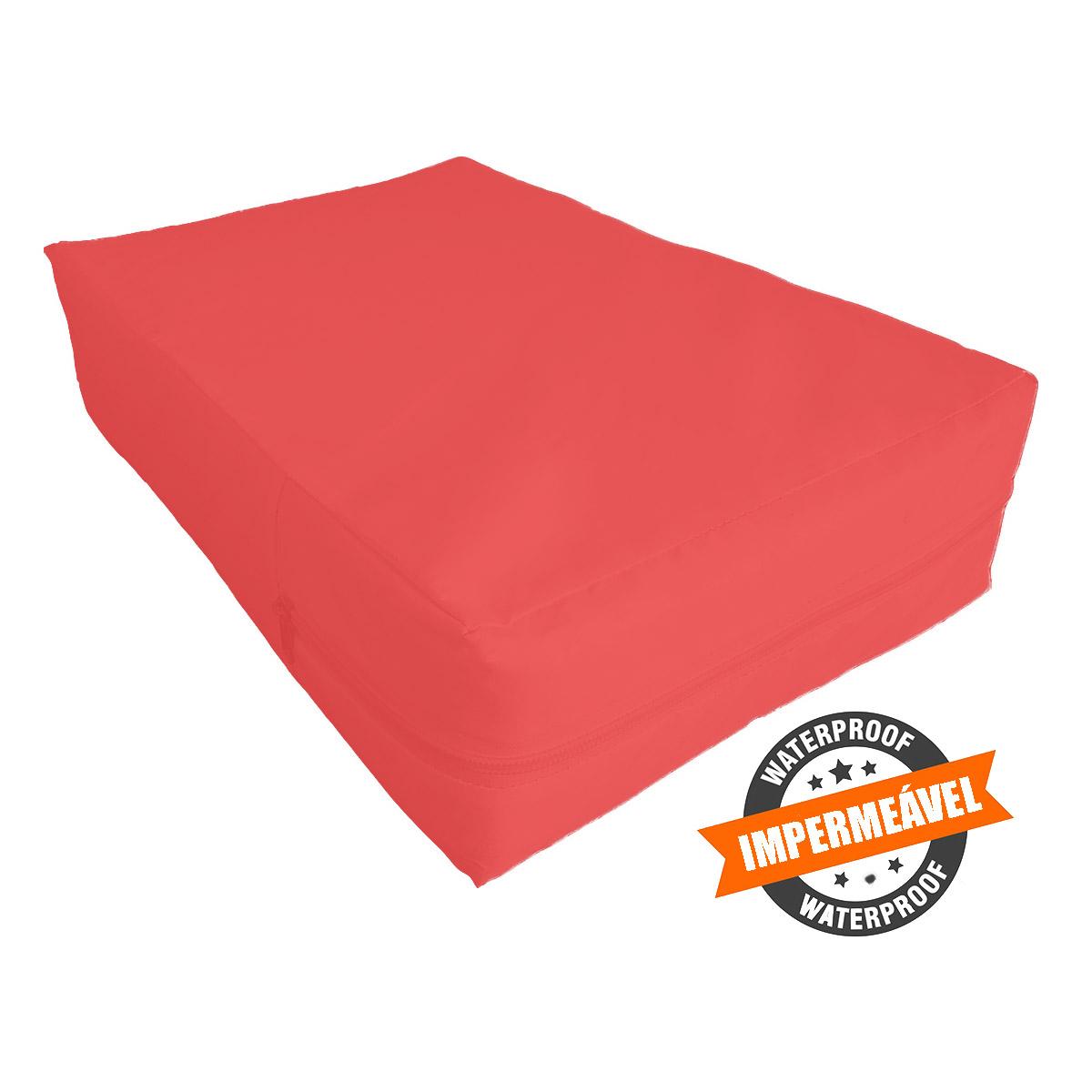 capa para colchão queen impermeável com zíper cor   Vermelha