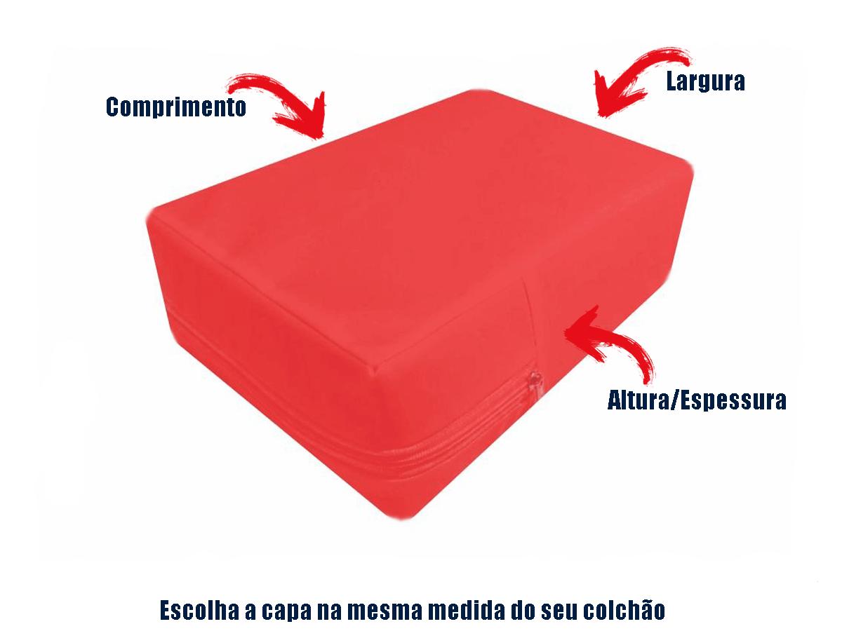 capa para colchão queen impermeável com zíper cor   Vermelha  - CarroCasa