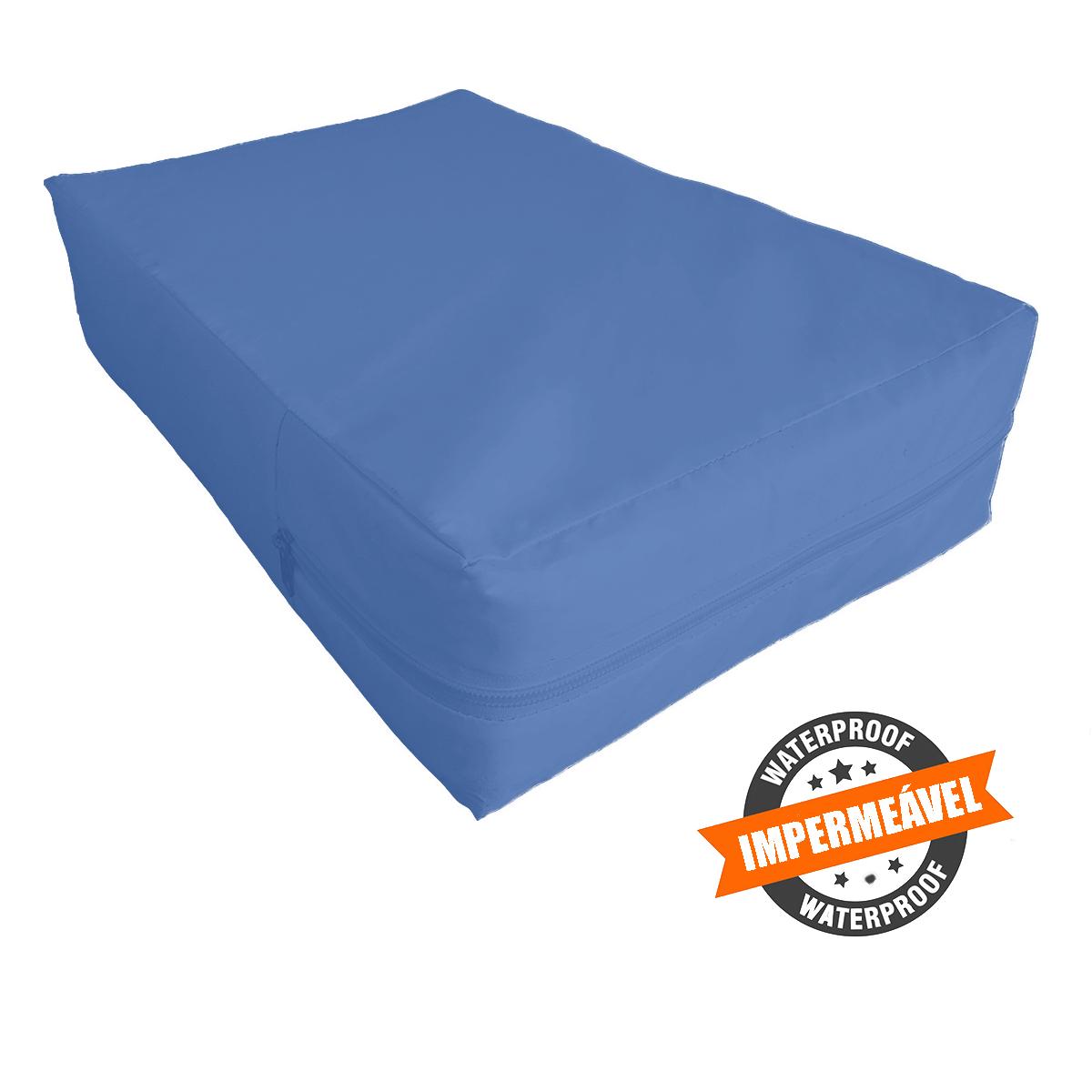 Capa Queen Impermeável P/ Colchão Azul Medida Especial