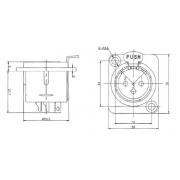 Conector Xlr Macho De Painel 3 Pinos - Xlr3Mp - Arko Audio