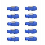 Kit Conector Powercon Azul De Linha Com 10 Unidades - K10PWCAL - Arko Audio