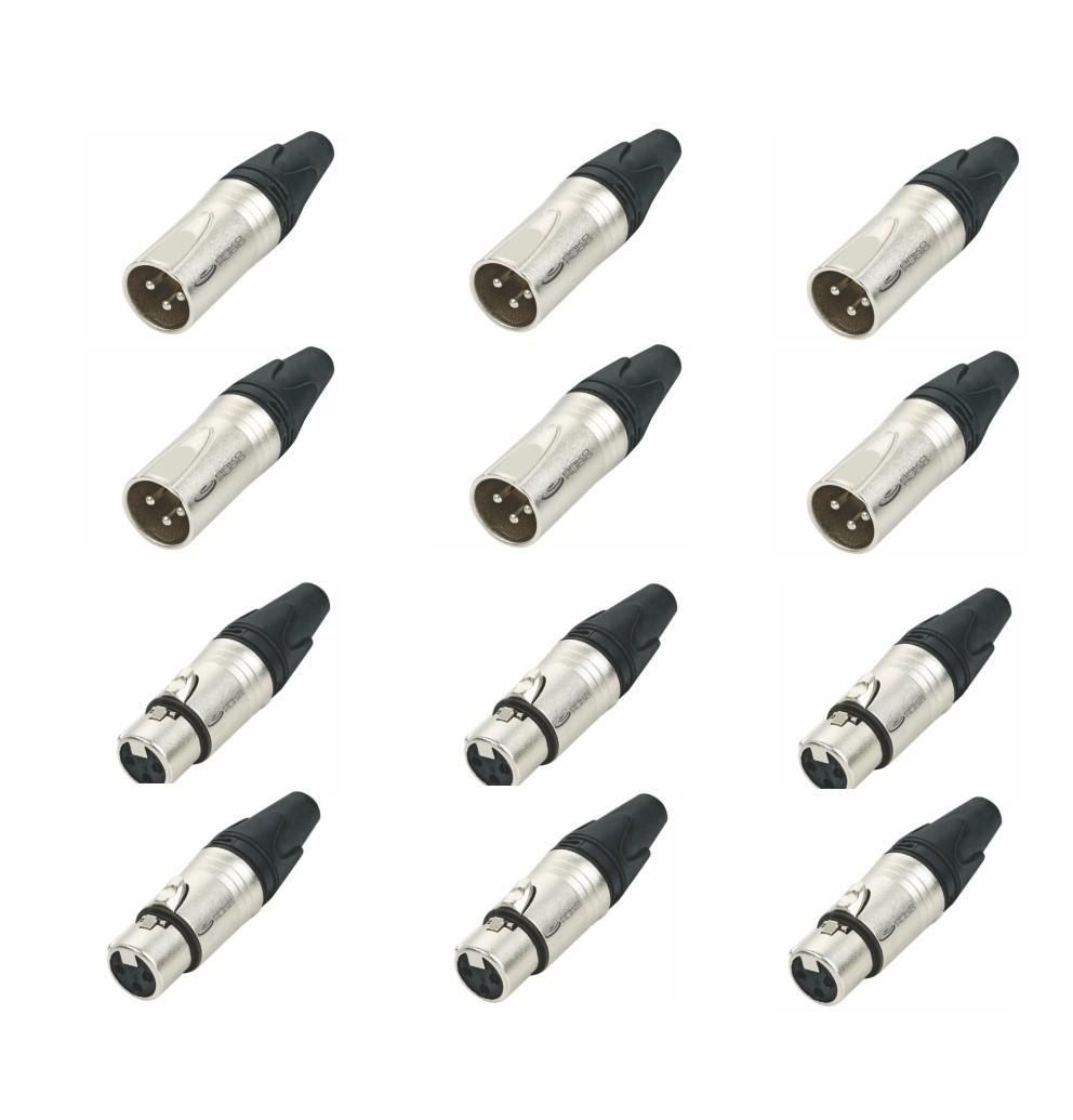 Kit Conector Xlr Macho e Fêmea De Linha 3 Pinos Com 12 Unidades - K12Xlr3MFl - Arko Audio