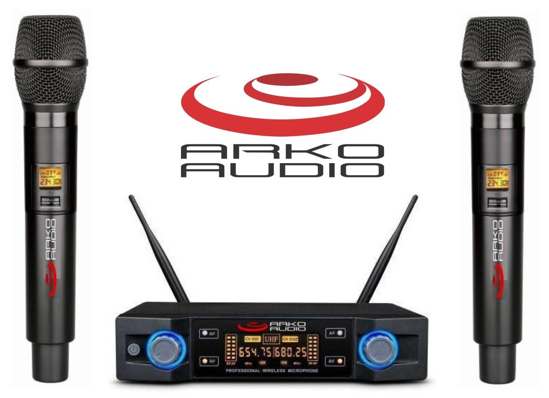 Microfone Sem Fio Duplo De Mão Padrão Uhf - Wm102Dm - Arko Audio