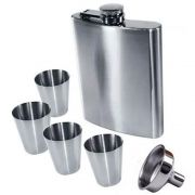 kit Cantil para Drinks Whisky Inox com 4 Copos