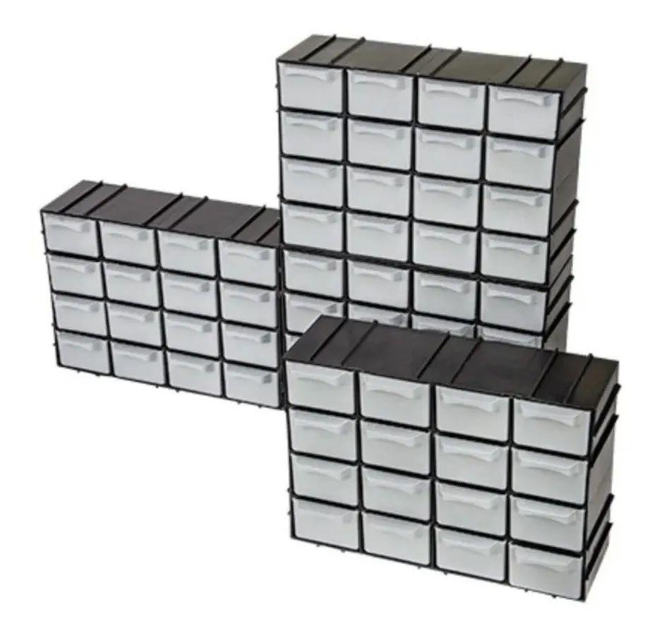 4 Caixa Gaveteiro Plástico Organizador C/16 Gavetas 7001-4