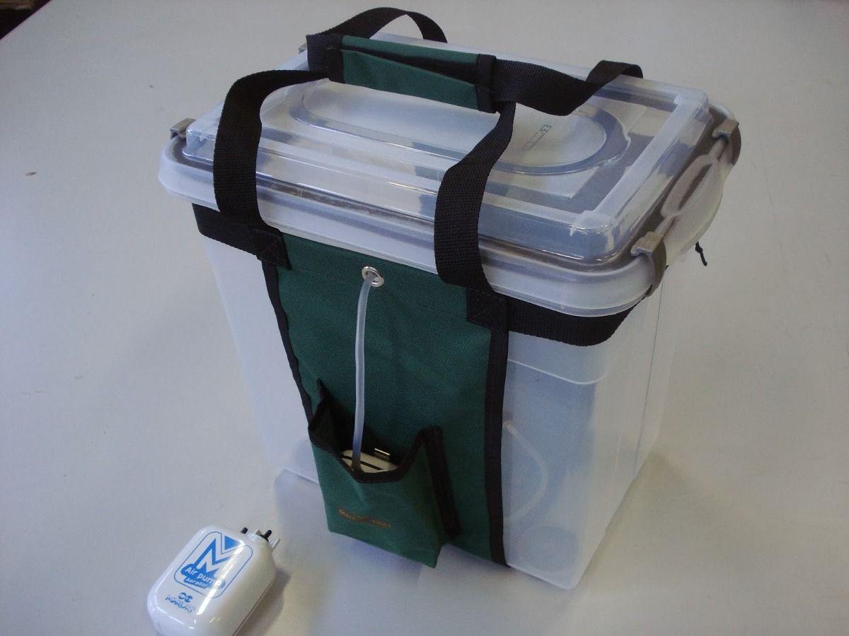 Caixa de Transporte de Peixes Ornamentais e Iscas Vivas - Com Oxigenador