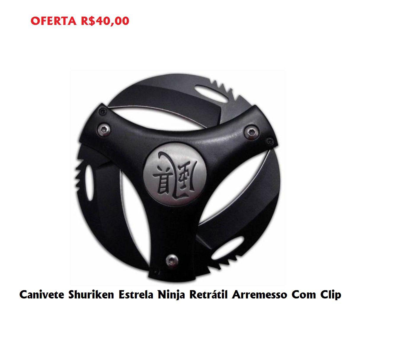 Canivete Shuriken Estrela Ninja Retrátil Arremesso Com Clip