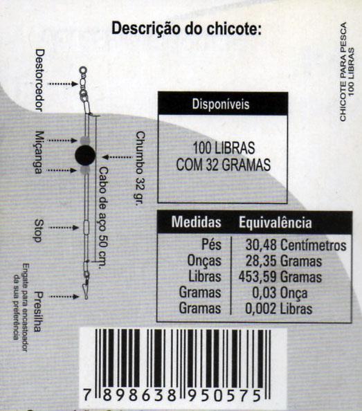 CHICOTE ESPADA CHUMBO 50 GRAMAS - C/ 01 UNID