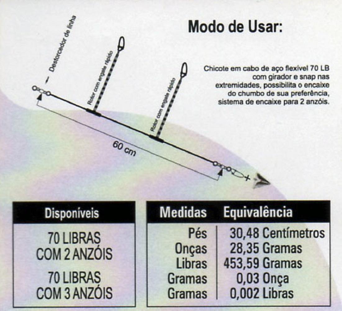 CHICOTE PARA PESCA 30LB P/ 02 ANZOIS - C/ 01 UNID