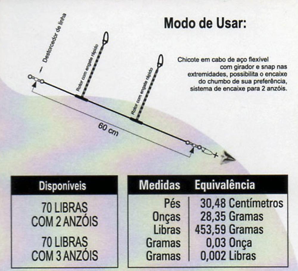 CHICOTE PARA PESCA 70LB P/ 03 ANZOIS - C/ 01 UNID