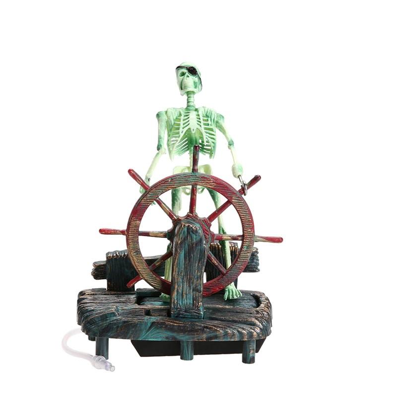 Enfeite de Aquário Capitão Caveira Capitão Esqueleto