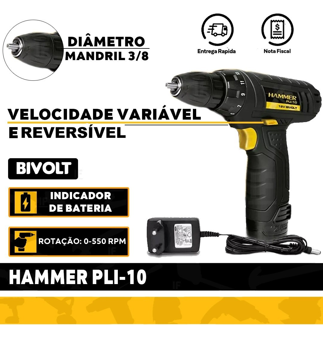 Furadeira Parafusadeira Hammer 12 v - PLI10