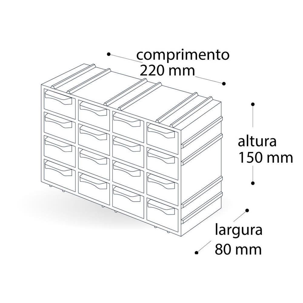 Kit 4 Organizador Arqplast Gaveteiro 7001 Modulavel