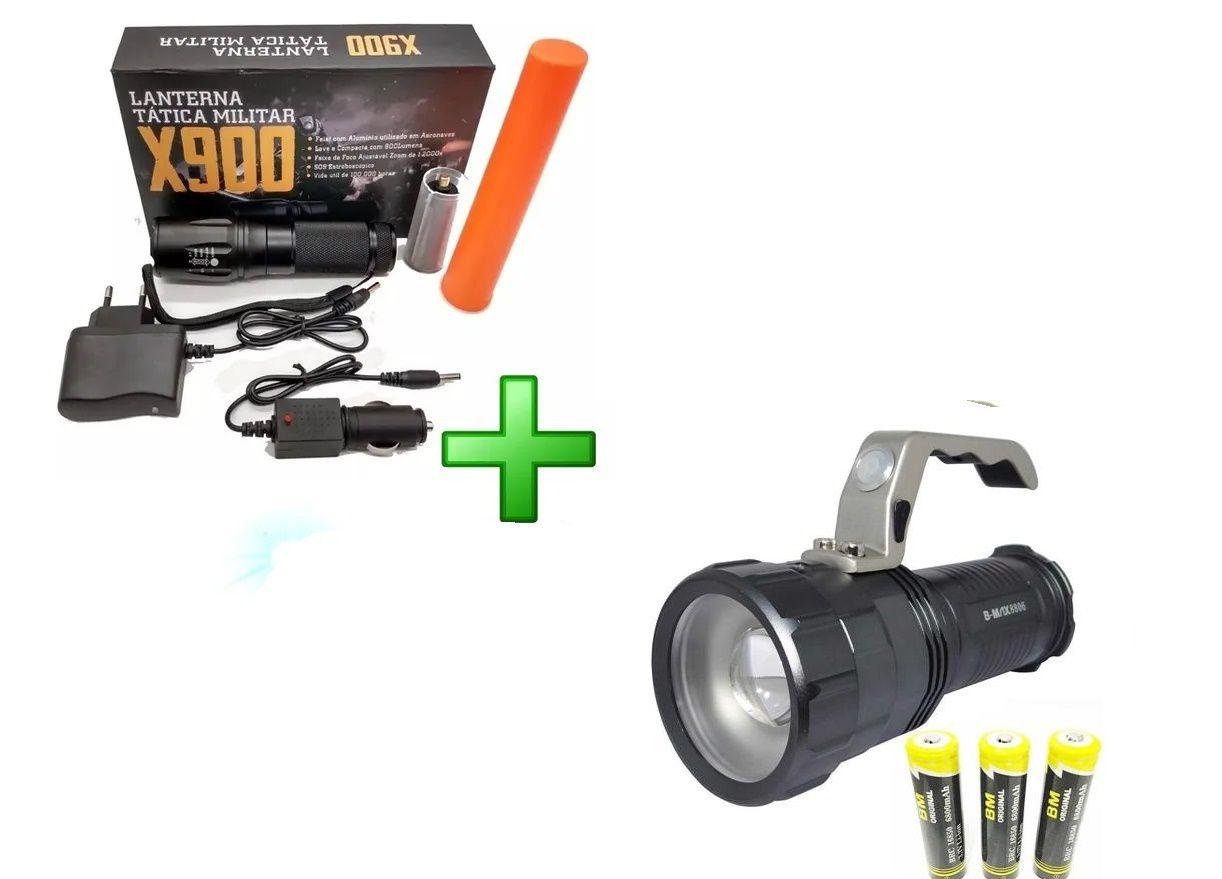 Kit Lanterna Holofote + Lanterna X900 Recarregável