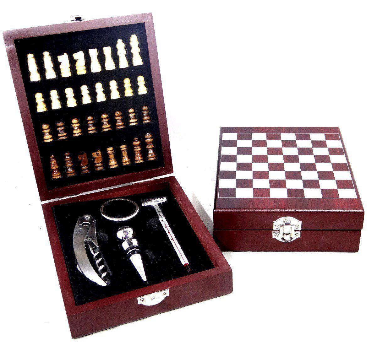Kit Para Vinho e com Mini Xadrez
