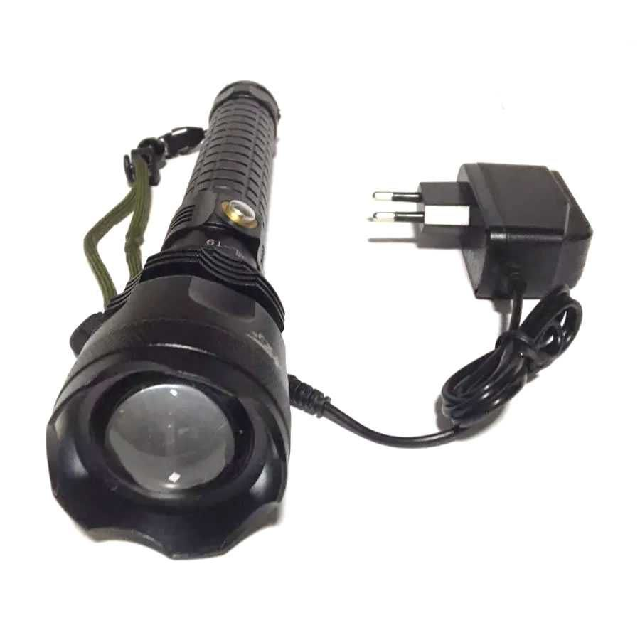 Lanterna Tática Super Led Branco T9 Recarregável 2 Bateria