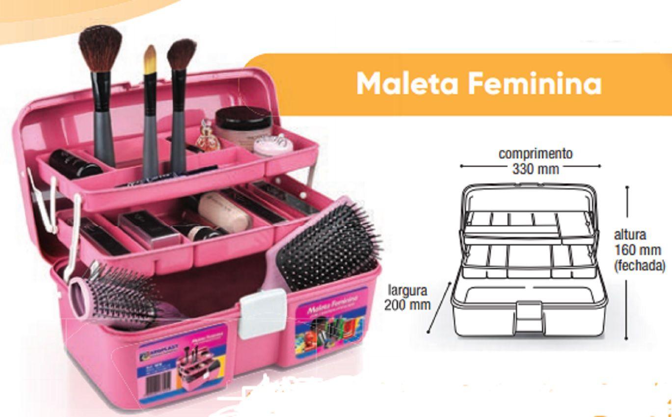 Maleta Feminina Rosa Com 2 Bandejas - Arqplast