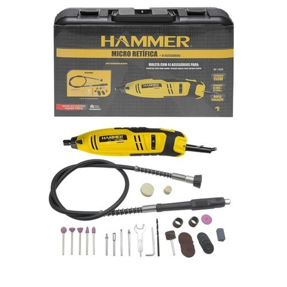 Micro Retífica Hammer MI-150K com Maleta e 41 Acessórios 127v