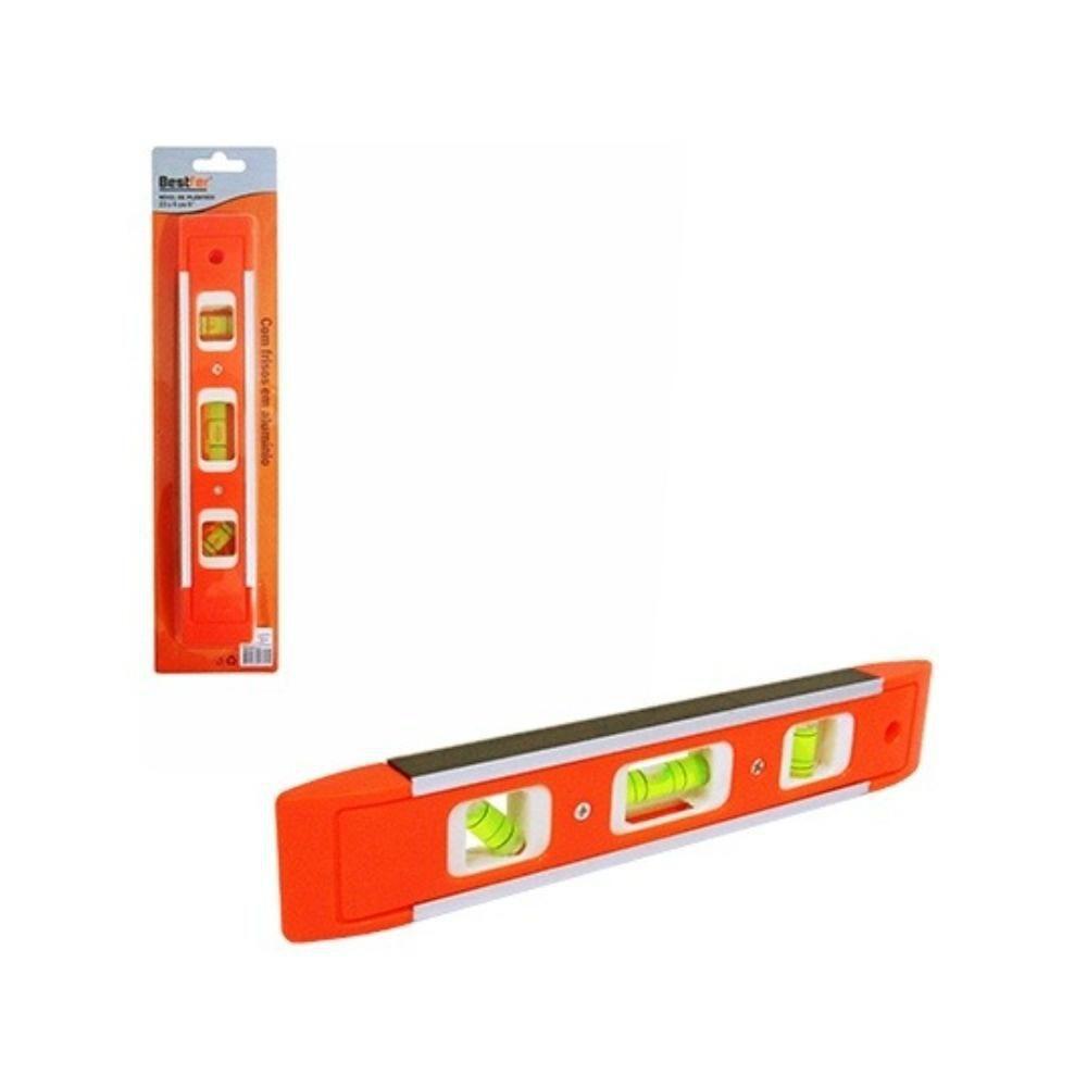 Nível de Plastico Magnetico - 03 Bolhas - 23 Cm - Bestfer BFH0075