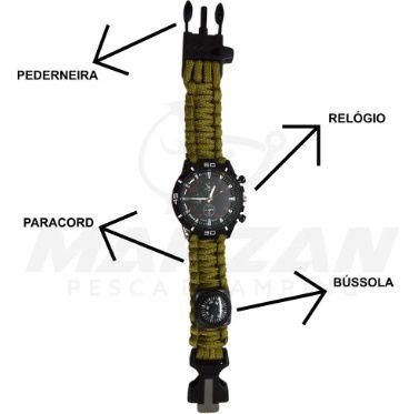 Relógio Bracelete + Facão De Sobrevivência