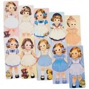 Kit 4 Marcadores de Páginas Menina Vintage - 4 unidades