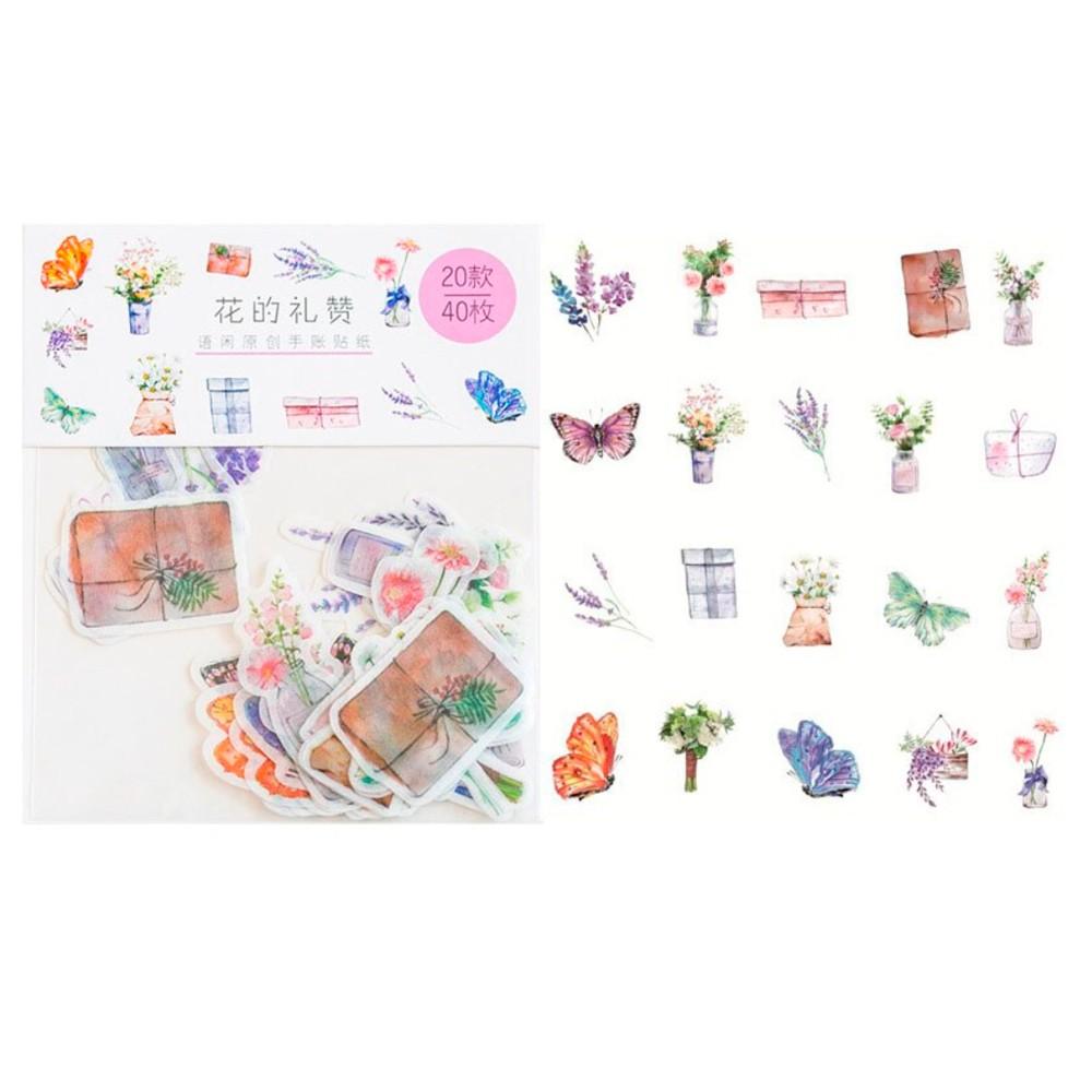 Adesivo Washi Garden - 40 adesivos