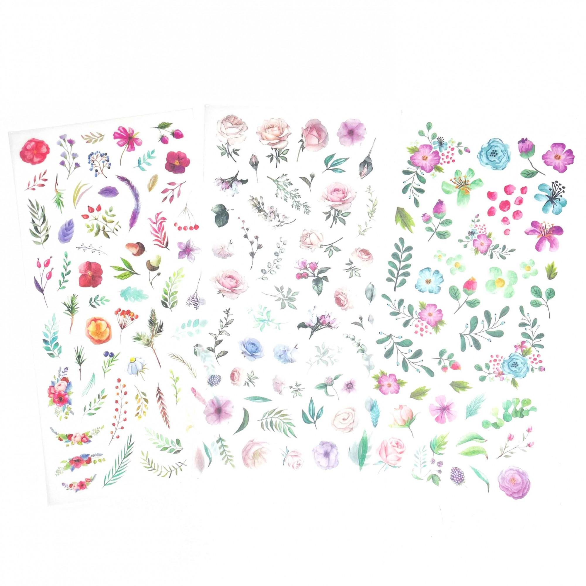Adesivo Washi Flower - 3 folhas