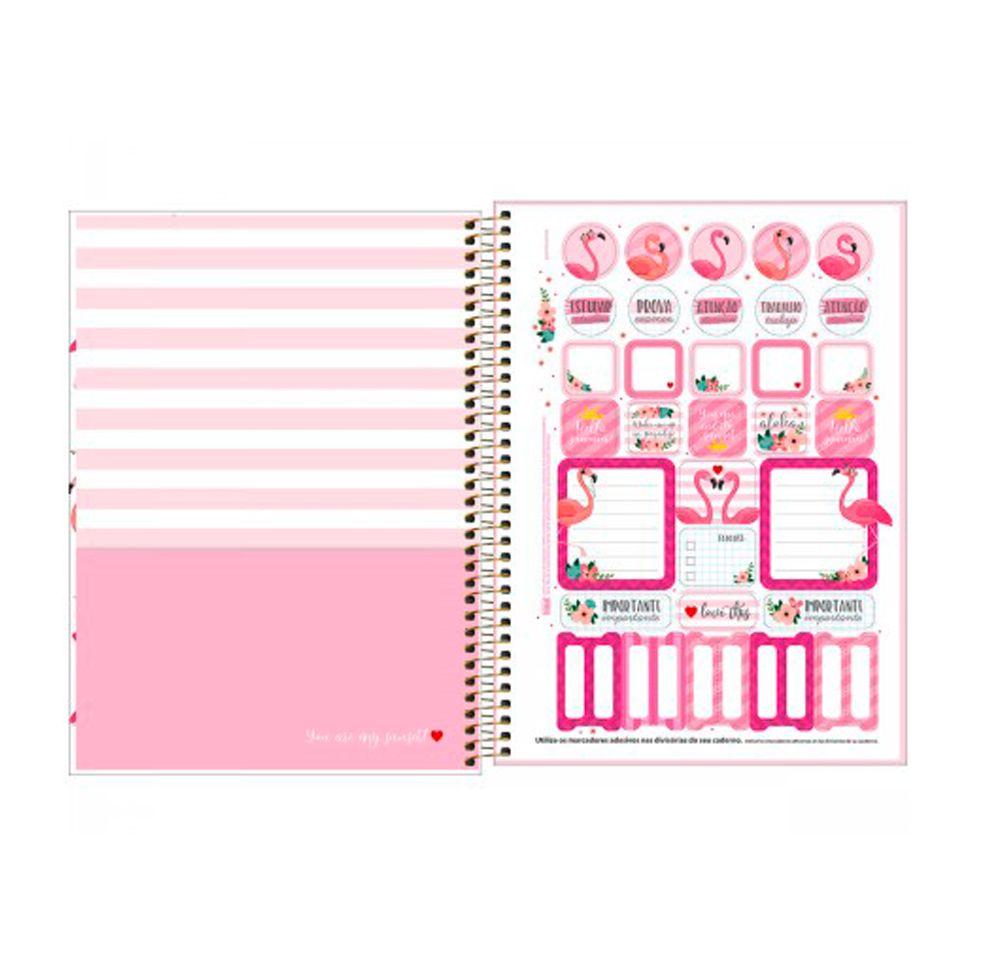 Caderno Flamingo Aloha - 10 Matérias