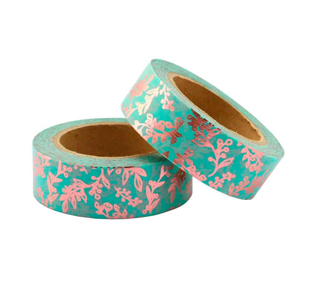 Washi Tape Foil Floral Rosa