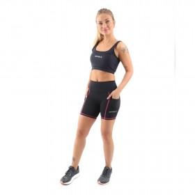Shorts de Compressão c/ Bolso e Cós Alto (Feminina) - Preto e Rosa | JUST RUN