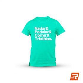 "Camiseta ""Nadar & Pedalar & Correr & Triathlon"" - Baby Look | PEPPER SPORTS"