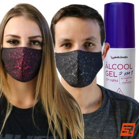 Kit Proteção (Máscara + Álcool Gel) | RS TEAM