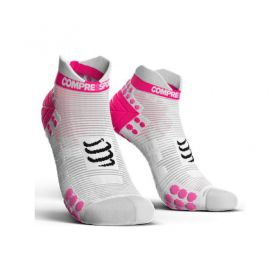 Meia Cano Curto - Run Low V3 - Branca & Rosa | COMPRESSPORT
