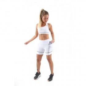 Shorts de Compressão c/ Bolso e Cós Alto (Feminina) - Branco| JUST RUN